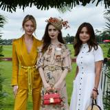 Martha Hunt, Lily Collins i Jenna Coleman na imprezie Cartier Queen's Cup Polo Final, 17.06.2018.