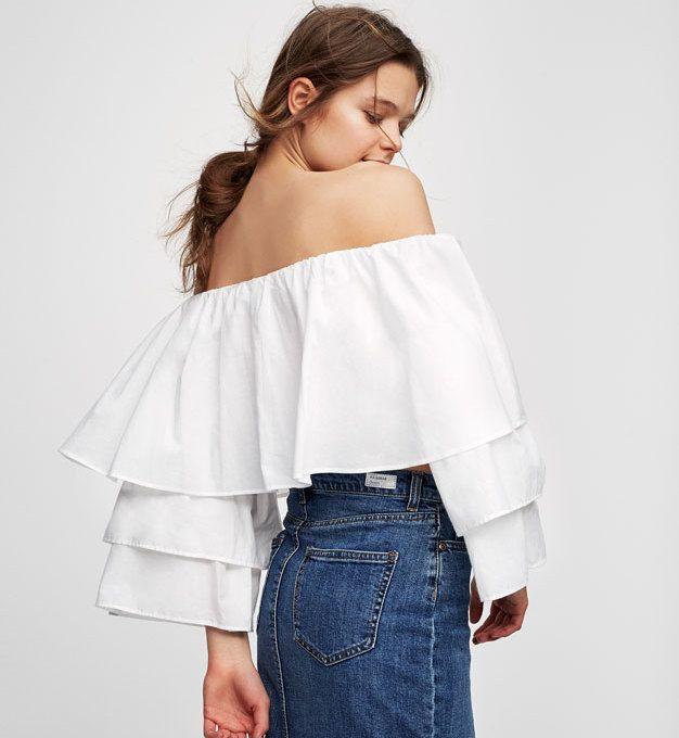 Biała bluzka koszulowa z przedłużeniem z tiulu | NOWOŚCI