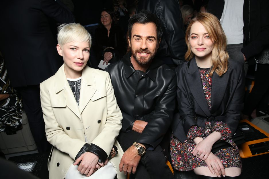 Michelle Williams, Justin Theroux i Emma Stone na pokazie Louis Vuitton jesień-zima 2018/2019