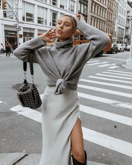 d70de16f37 Jak nosić szary sweter - 10 sposobów z instagrama - Elle.pl - trendy ...