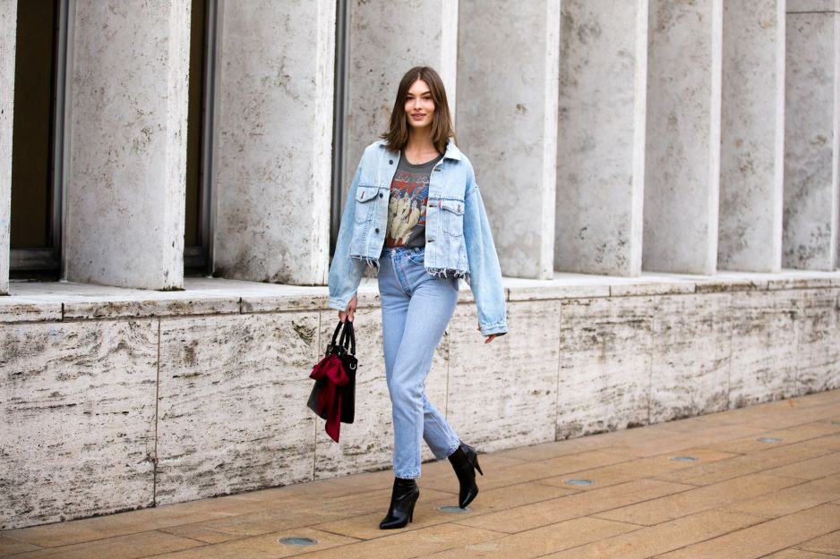 Jeansowy total look - street fashion