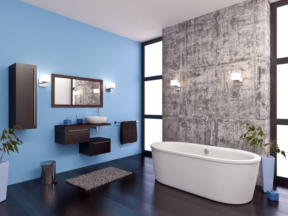 Nowoczesna łazienka Intensywnie Niebieska ściana Surowy
