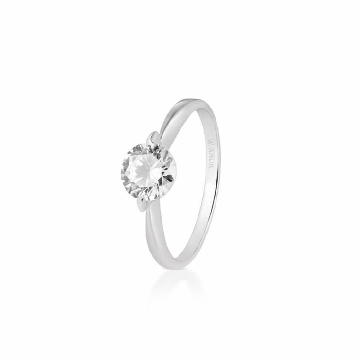 Zaktualizowano Srebrny pierścionek zaręczynowy z cyrkoniami - Pierścionki WS03