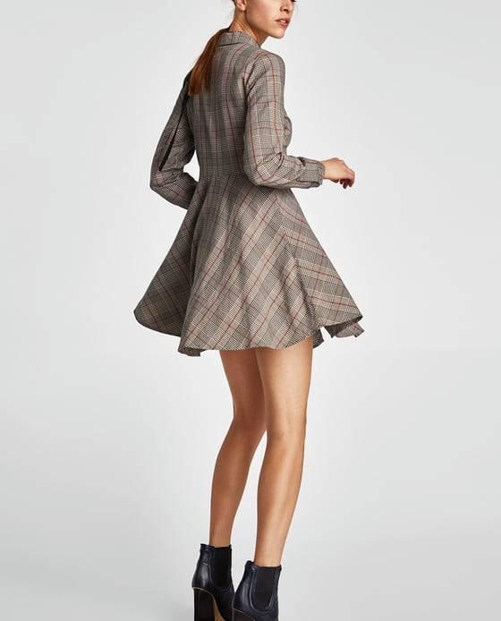 Rozkloszowana sukienka w kratę Zara Rozkloszowane sukienki