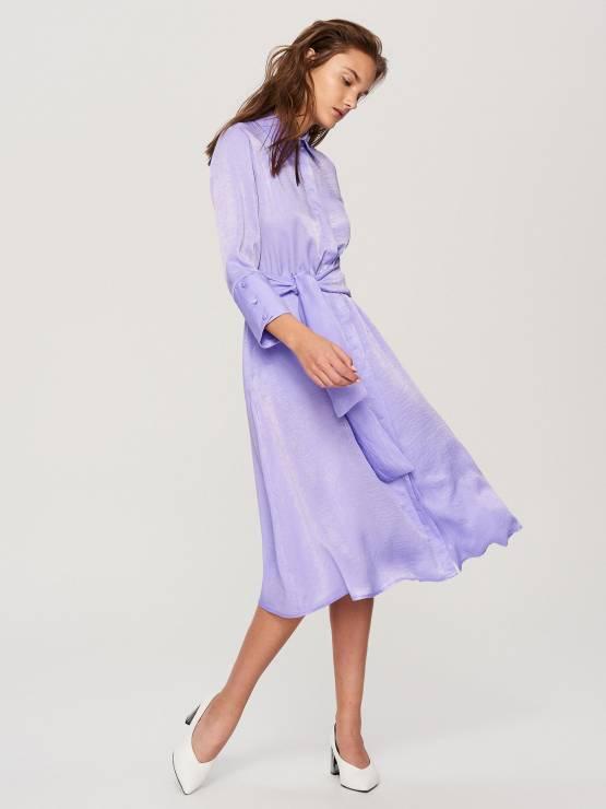 b9b3a1521d Jagodowa sukienka z kołnierzykiem - Modne sukienki z Reserved na wiosnę 2018