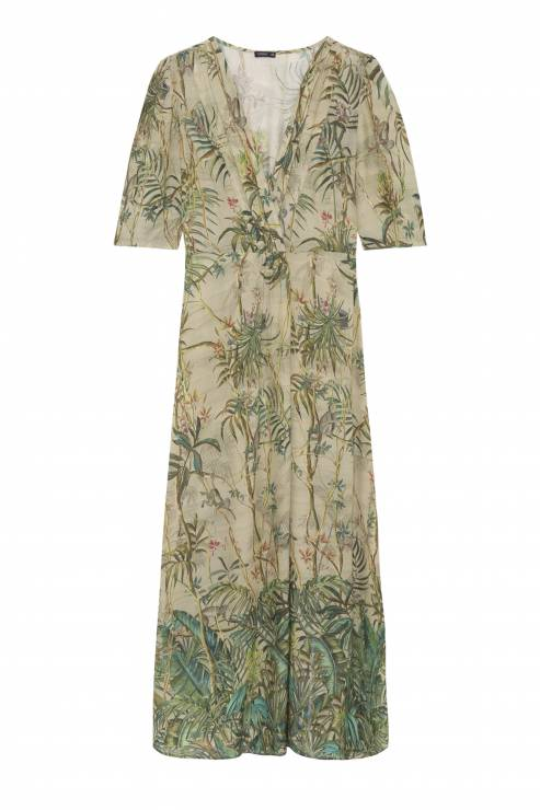 a201d6eadb Długa sukienka z nadrukiem dżungli OYSHO - Lato w tropikach według OYSHO