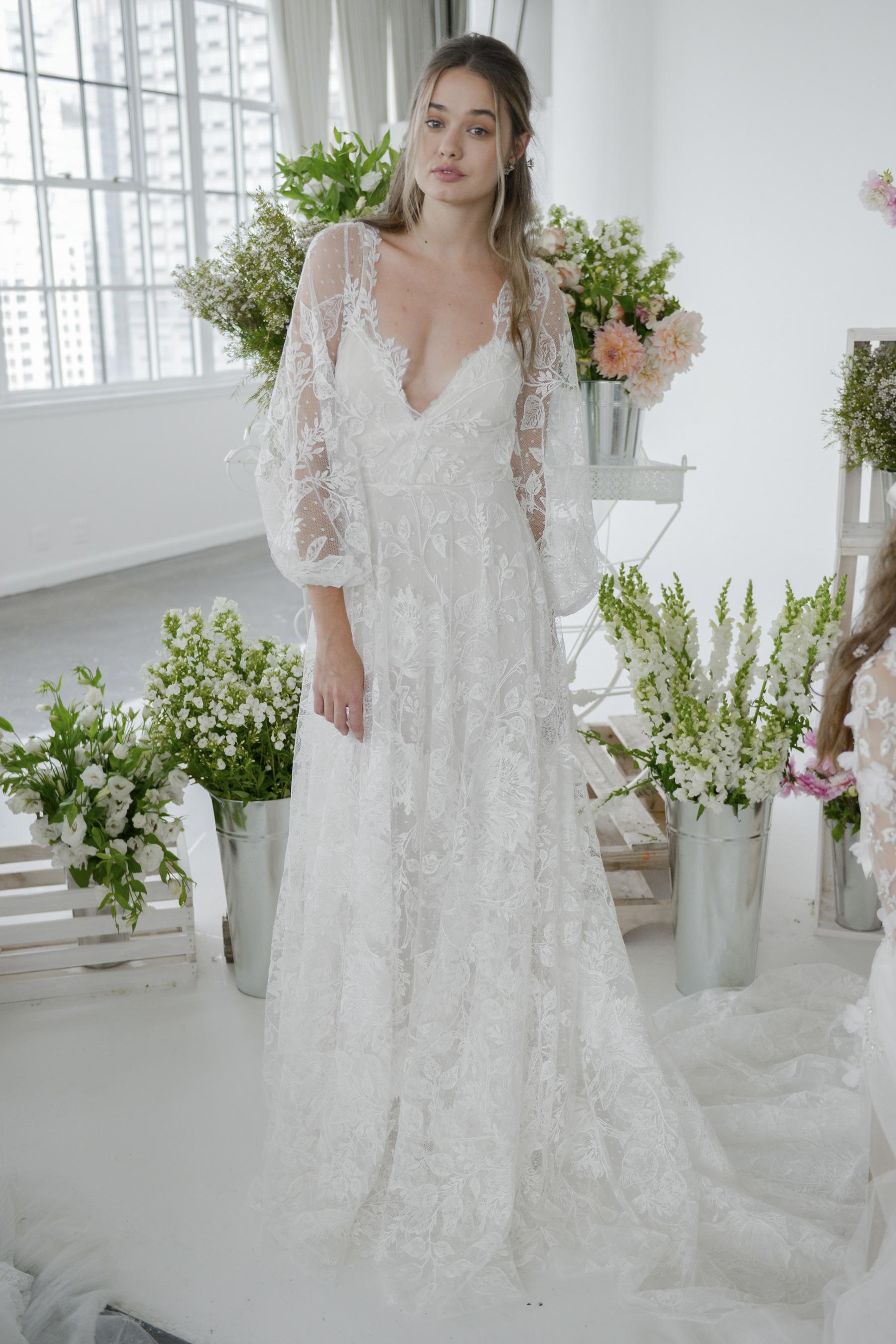 Suknie ślubne Marchesa Jesień Zima 20182019 Elle Wedding Trendy
